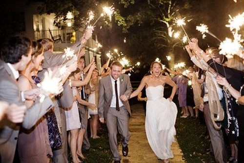 wedding sparklers running exit