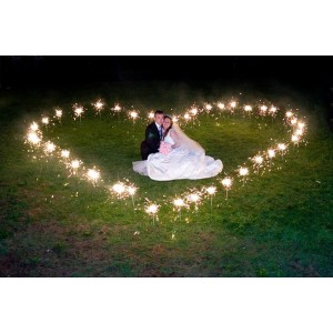 Heart created with Wedding Sparklers