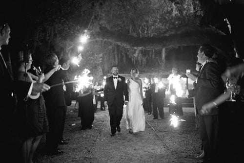 wedding sparkler exit with spanish moss