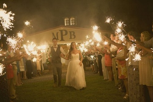 wedding sparklers barn wedding