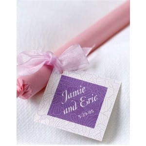 Wedding Sparklers Wrapped in Pink Tissue with Personalized Tag